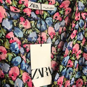 Zara Size L Tulip Print Dress NWT